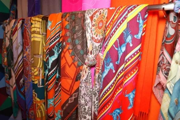 Printed Hermes silk scarves in Tokyo