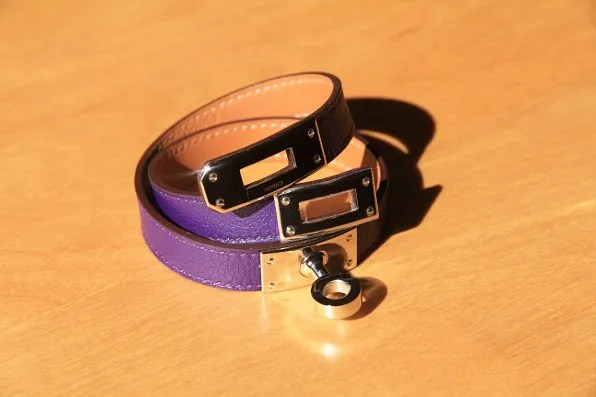 Purple leather Hermes Kelly Double Tour Bracelet