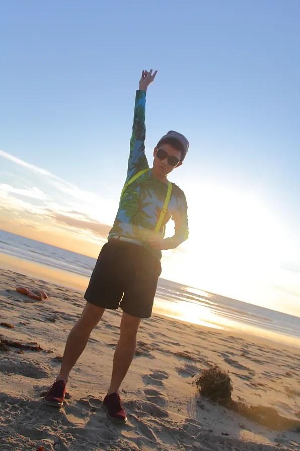 Bryanboy at Zuma Beach in Malibu, California