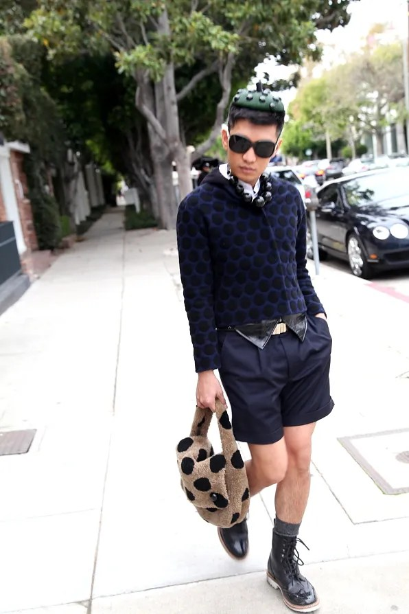 Bryanboy walking on Melrose Ave wearing Marc Jacobs