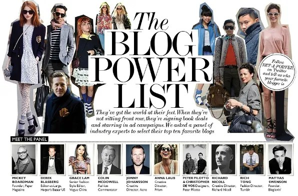 Net-a-Porter Magazine Blogger Power List