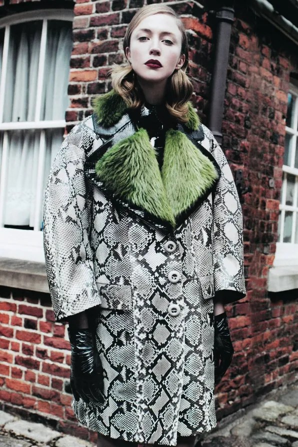 Prada coat fall winter 2011 worn by Raquel Zimmermann for Vogue Nippon magazine.