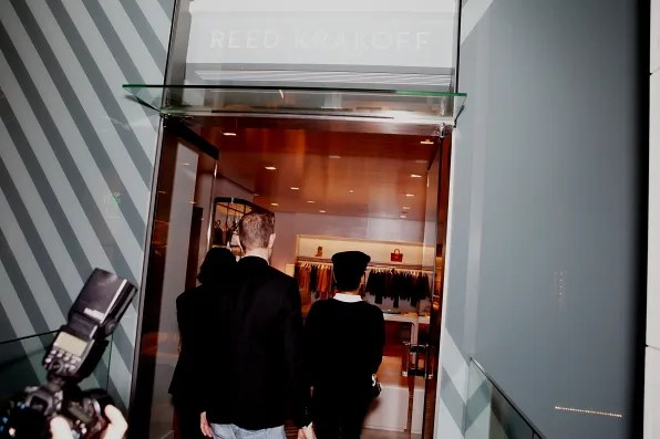 Bryanboy his agent from CAA entering the Reed Krakoff Aoyama store in Tokyo