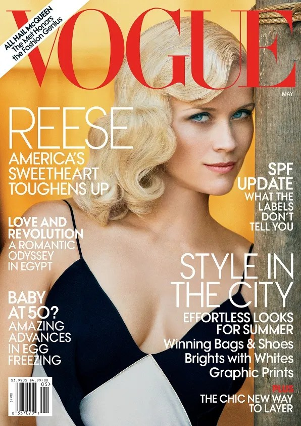 Reese Witherspoon in Roland Mouret on the cover of Vogue USA magazine May 2011