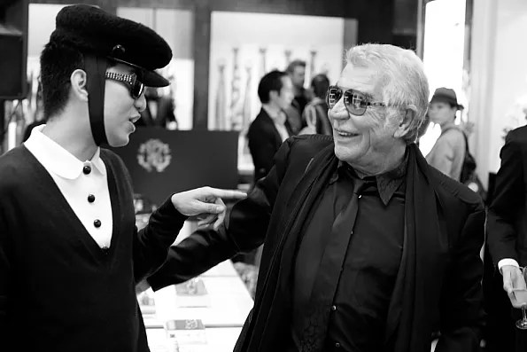 Bryanboy and Roberto Cavalli sharing a laugh in Tokyo