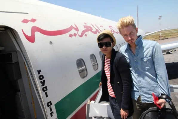 Bryanboy boarding a Royal Air Maroc flight