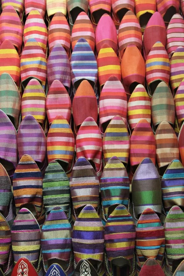 Striped baboosh slippers from a market in Marrakesh, Morocco
