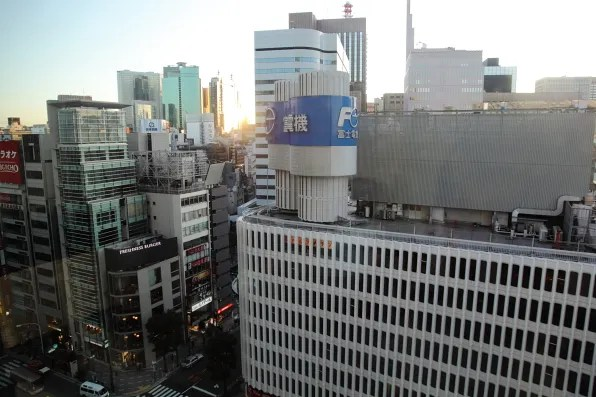 Afternoon sunset from Bryanboy's hotel room in Ginza