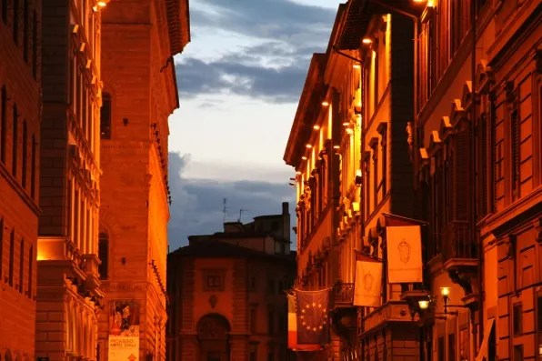 View of Via Degli Strozzi, Florence at sunset.