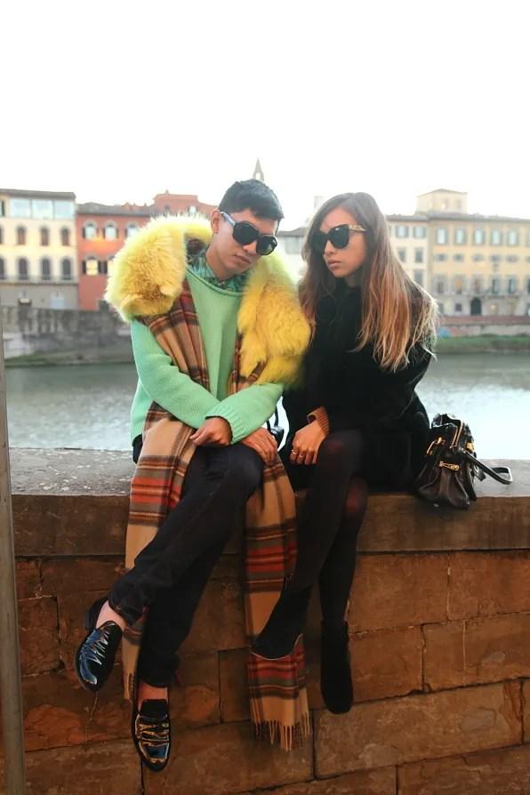 Bryanboy and Rumi Neely in Lungarno Acciaiuoli, Firenze