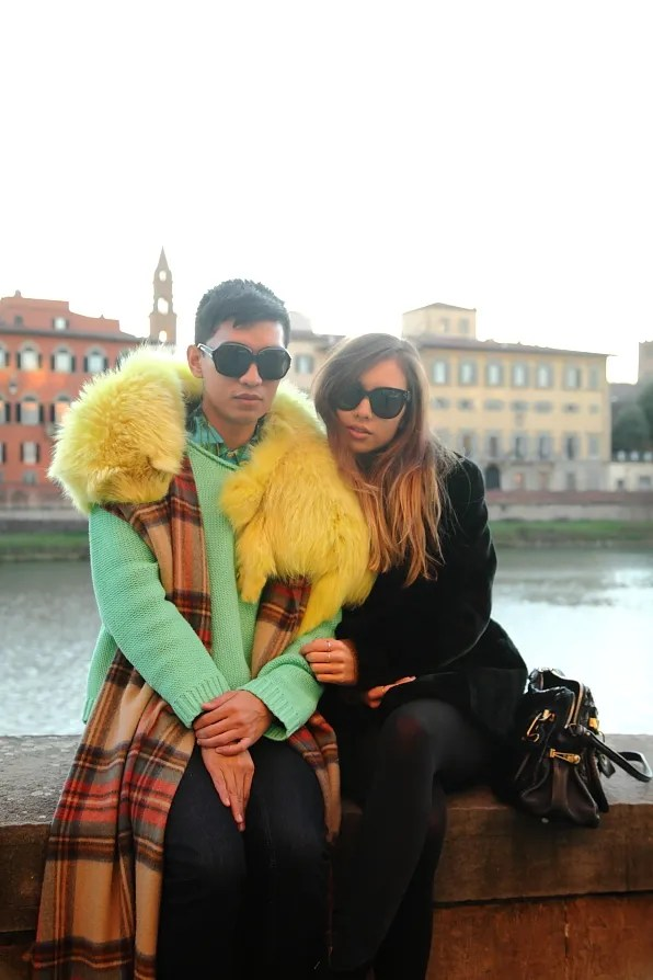 Bryanboy and Rumi Neely in Lungarno Acciaiuoli, Florence