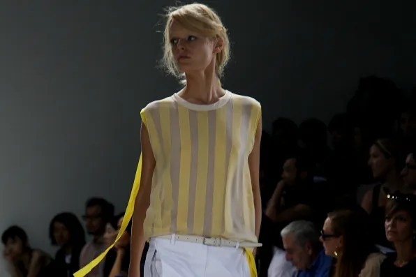 Hanne Gaby Odiele wearing a sleeveless top from 3.1 Phillip Lim spring summer 2012