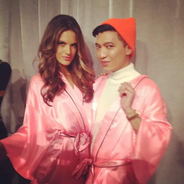 Alessandra Ambrosio and Bryanboy backstage at Victoria's Secret Fashion Show 2012