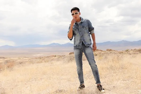Bryanboy in American Eagle denim jacket and jeans