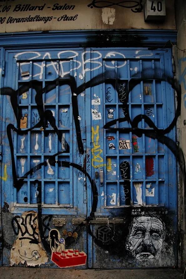 Graffiti-covered door, Berlin