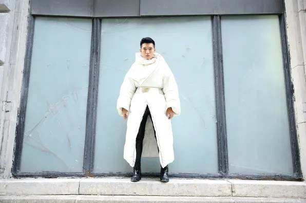 H&M and Margiela white comforter coat
