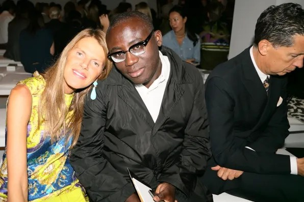 Anna dello Russo and Edward Enninful at Calvin Klein Collection spring 2013 fashion show