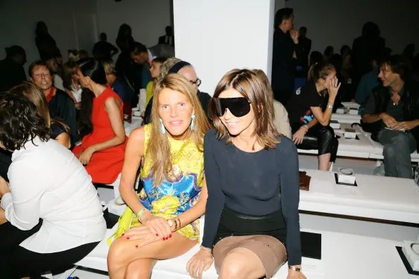 Anna dello Russo and Carine Roitfeld at Calvin Klein Collection spring 2013 fashion show