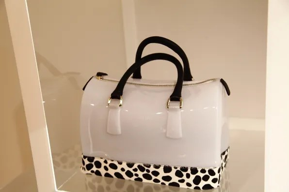 Furla Candy Bag in white with dalmatian spot print on ponyskin