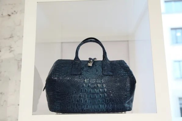 Blue crocodile-embossed Furla leather bag