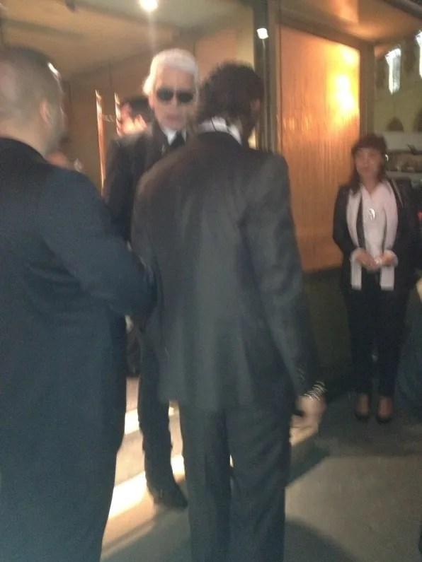 Karl Lagerfeld leaving La Maison Du Caviar Paris
