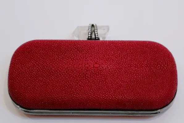 Marchesa red stingray clutch bag