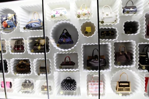 Louis Vuitton handbag wall at Louis Vuitton Marc Jacobs exhibition