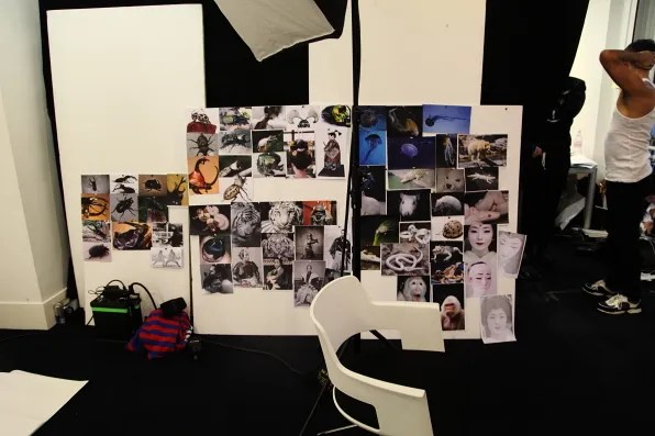 Mood board at Mugler fall winter 2012