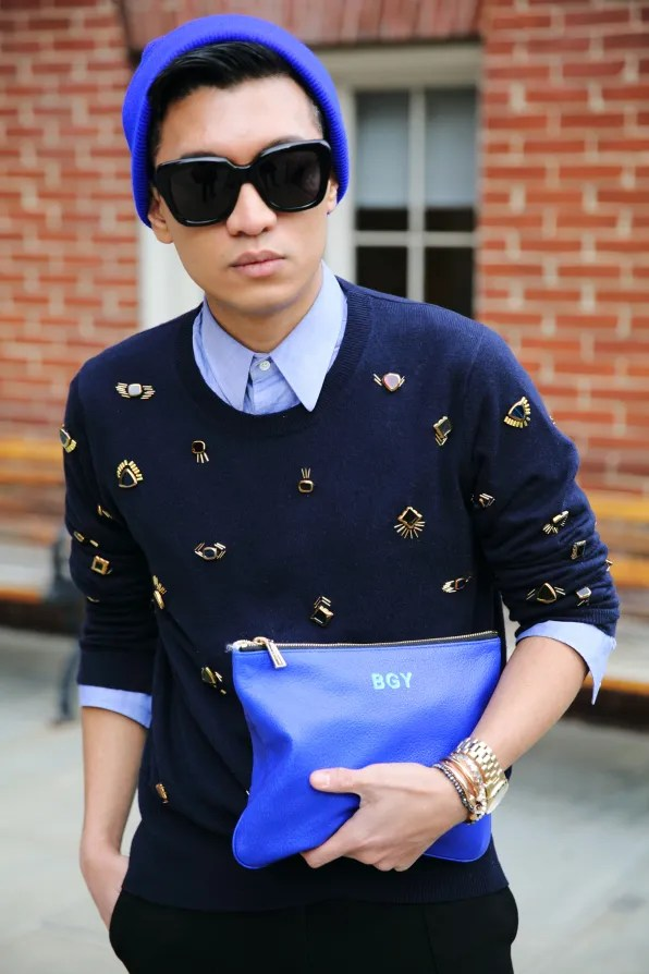 Bryanboy wearing a 3.1 Phillip Lim resort 2013 sweater