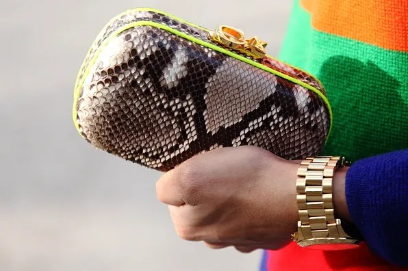 Snake skin clutch bag by Corto Moltedo