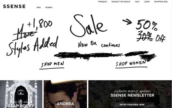 SSENSE Fall Winter 2012 sale