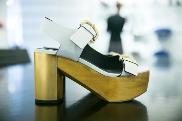 Chunky golden heel and sole sandal from Calvin Klein Collection Resort 2014