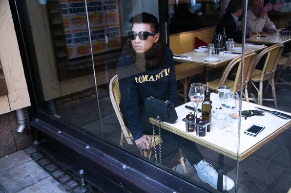 Acne Romantic sweater worn by Bryanboy at Zink Grill in Stockholm