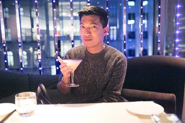 Bryanboy at Armani Ristorante New York having an Armani Martini