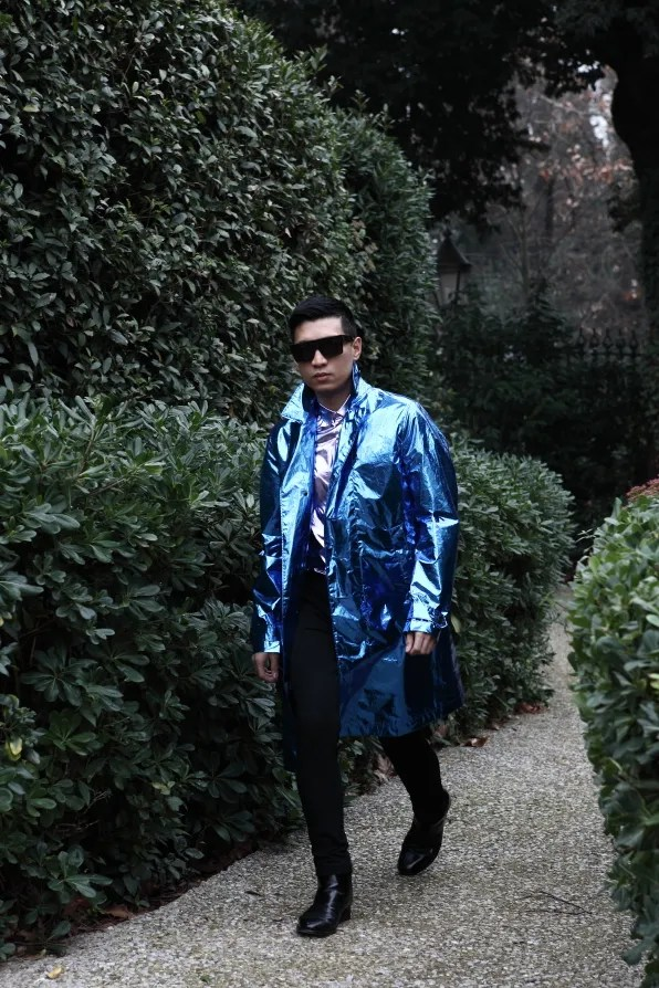 Bryanboy wearing a spring summer 2013 metallic Burberry Prorsum coat