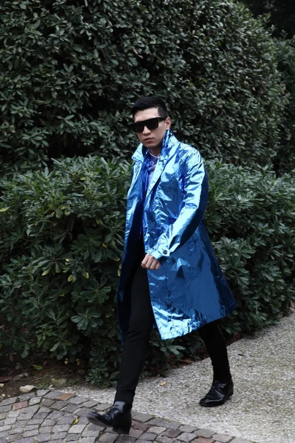 Blue metallic paper silk trench coat by Burberry Prorsum
