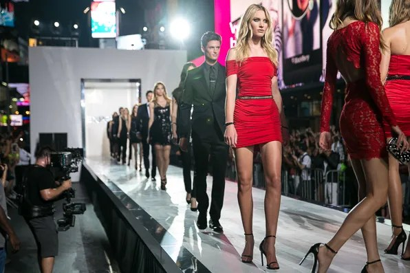 Finale walkthrough of the Express Holiday 2013 runway show in Times Square, New York City