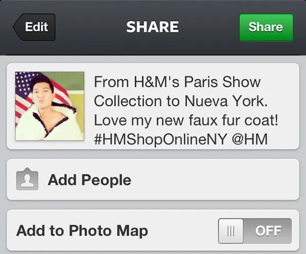 H&M 50 States of Fashion Instagram Screenshot