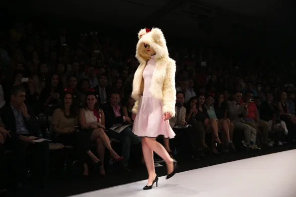 Opening look, faux fur hoodie by Pink Magnolia Mexico