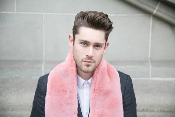 Queenie wearing Bryanboy x Adrienne Landau fur scarf in Zurich