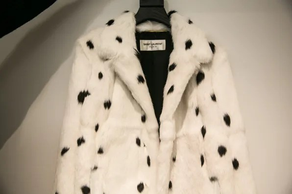 White rabbit fur jacket by Saint Laurent Paris