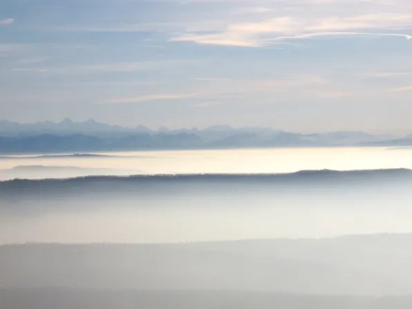 Cloud and mist-covered mountains of Switzerland