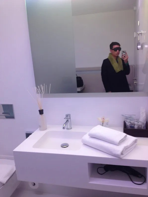 Private bathroom and shower facilities inside the Swiss First Class lounge dayroom