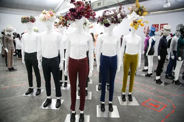 Uniqlo white shirts and floral headpieces