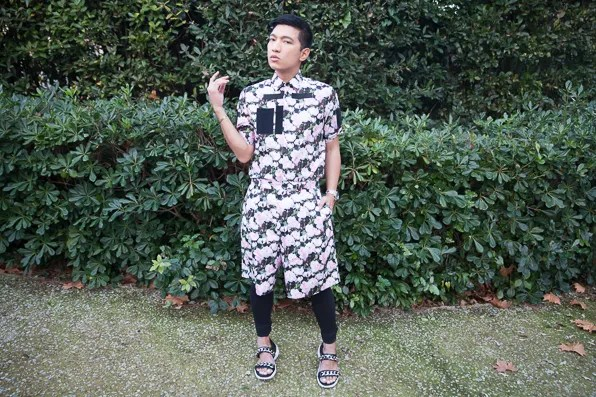 Bryanboy in a Givenchy shirt, Givenchy shorts and Givenchy chain sandals