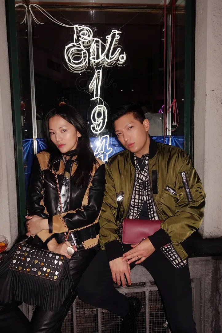 Tina Leung and Bryanboy at Bar Basso celebrating Coach Milano