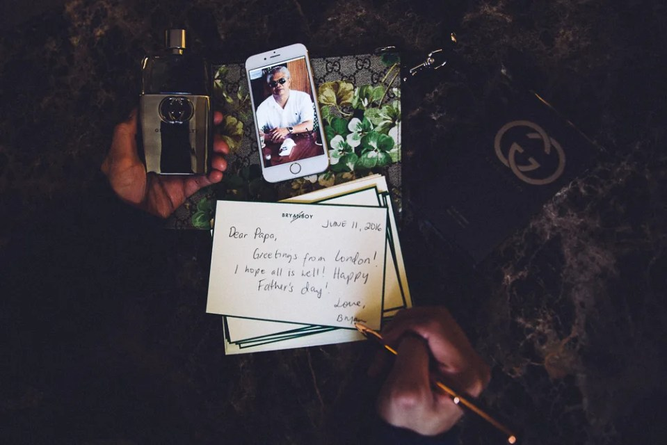 Bryanboy writing a notecard for his father during Father's Day