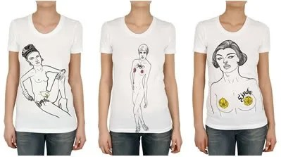 Agyness Deyn, Daphne Guinness and Linda Evangelista naked for House of Holland Spring 2009 t-shirts