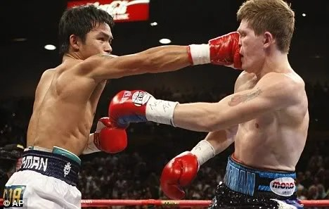 Manny Pacquiao and Ricky Hatton picture. TKO Knockout on Round 2