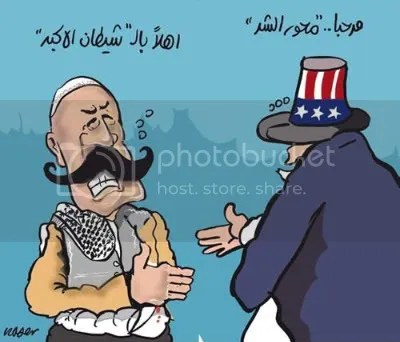 {Marhaba (greeting) axis of evil-Ahlen (another greeting) big Satan) by Naser Al Jafari-Al Sijil newspaper-Jordan